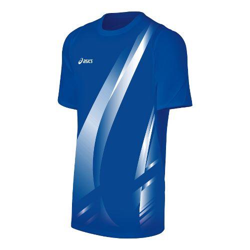 Mens ASICS Put Away Jersey Short Sleeve Technical Tops - Royal/White L