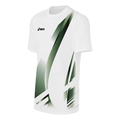 Mens ASICS Put Away Jersey Short Sleeve Technical Tops - White/Black XL