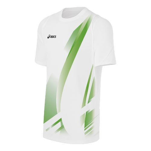 Mens ASICS Put Away Jersey Short Sleeve Technical Tops - White/Lime L