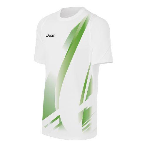 Mens ASICS Put Away Jersey Short Sleeve Technical Tops - White/Lime M