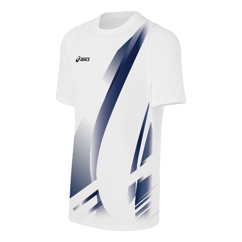 Mens ASICS Put Away Jersey Short Sleeve Technical Tops - White/Navy L