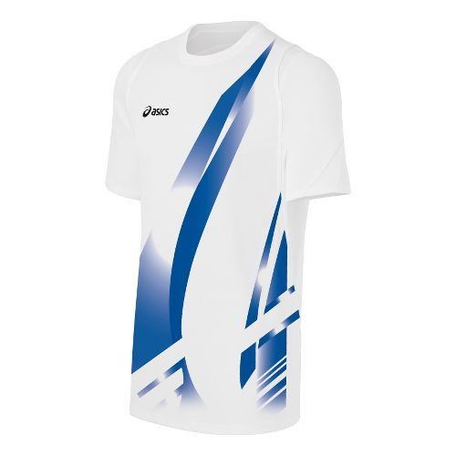 Mens ASICS Put Away Jersey Short Sleeve Technical Tops - White/Royal M