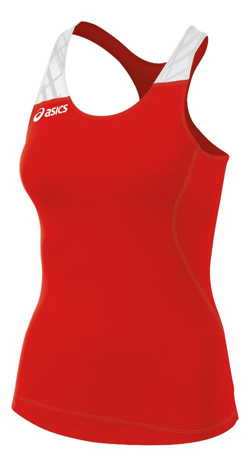 Womens ASICS Alley Tank Sport Top Bras - Red/White M