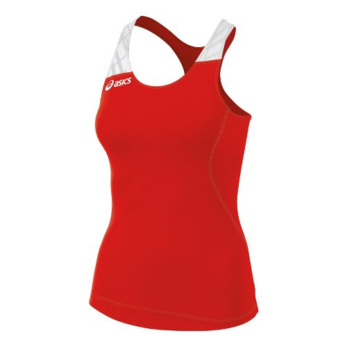 Womens ASICS Alley Tank Sport Top Bras - Red/White L