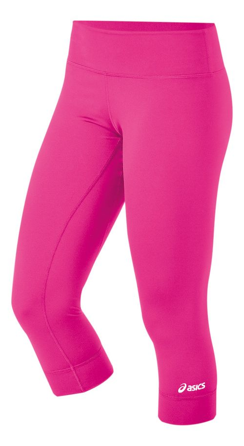 Womens ASICS Team 3/4 Capri Tights - Pink Glo XXL
