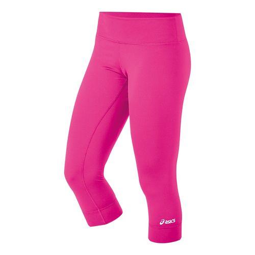 Womens ASICS Team 3/4 Capri Tights - Pink Glo M