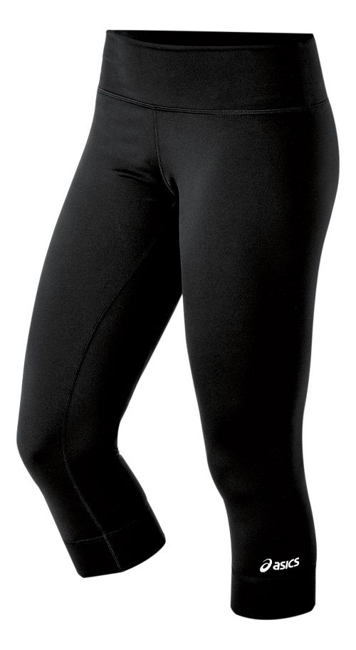 Womens ASICS Team 3/4 Long Capri Tights - Black XLT