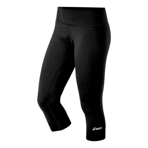 Womens ASICS Team 3/4 Long Capri Tights - Black XLT