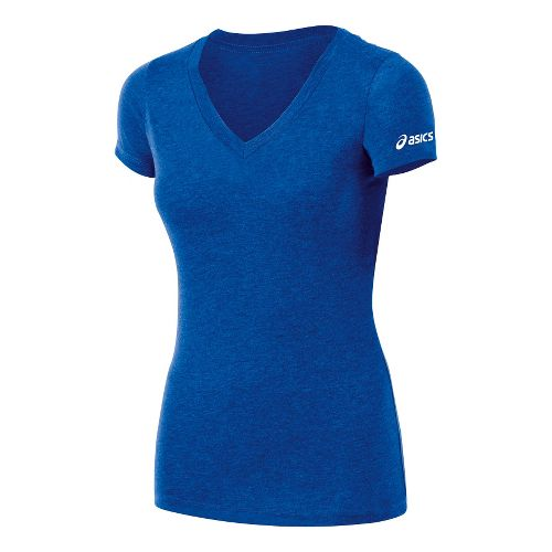 Womens ASICS Team Tech T Short Sleeve Technical Tops - Royal Heather XL
