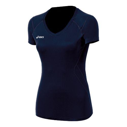 ASICS Girls Jr. Set Jersey Short Sleeve Technical Tops - White/Navy L