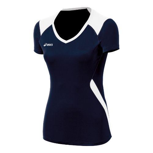 ASICS Girls Jr. Set Jersey Short Sleeve Technical Tops - Navy/White L