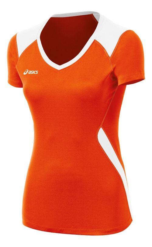 ASICS Girls Jr Set Jersey Short Sleeve Technical Tops - Orange/White XL