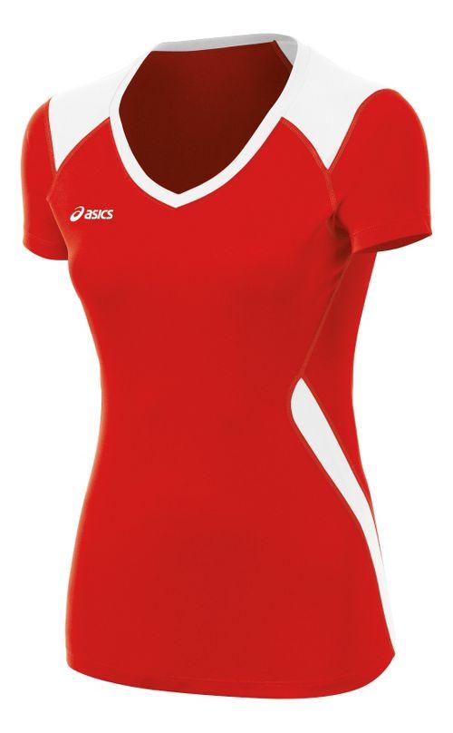 ASICS Girls Jr Set Jersey Short Sleeve Technical Tops - Red/White M