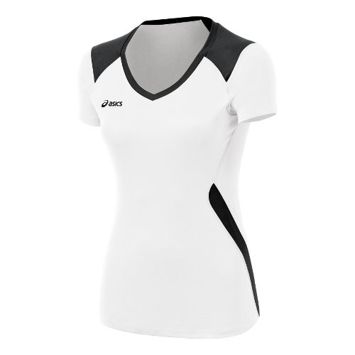 ASICS Girls Jr. Set Jersey Short Sleeve Technical Tops - White/Black L