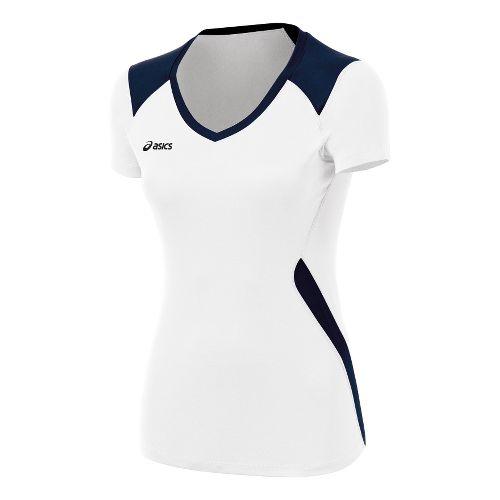 ASICS Girls Jr. Set Jersey Short Sleeve Technical Tops - White/Navy XL