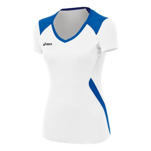 ASICS Girls Jr. Set Jersey Short Sleeve Technical Tops - White/Royal L