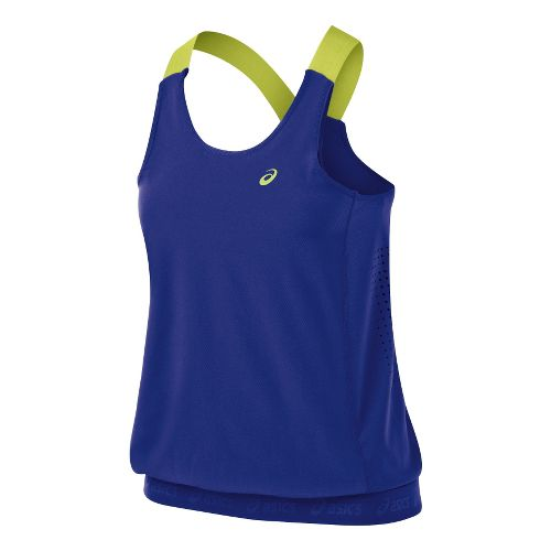 Womens ASICS Break Tanks Technical Tops - Blueberry L