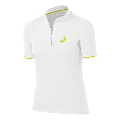 Womens ASICS Break Polo Short Sleeve Technical Tops - Real White XS