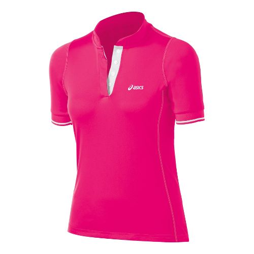 Womens ASICS Break Polo Short Sleeve Technical Tops - Sport Pink XL