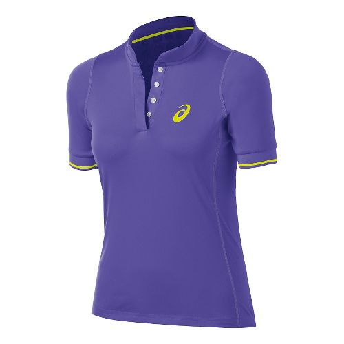 Womens ASICS Break Polo Short Sleeve Technical Tops - Voilet Purple XL