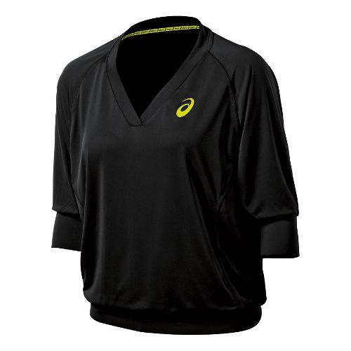 Womens ASICS 3/4 Tennis Top Long Sleeve No Zip Technical Tops - Performance Black XL ...