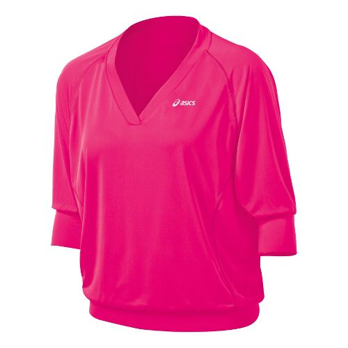 Womens ASICS 3/4 Tennis Top Long Sleeve No Zip Technical Tops - Sport Pink S ...