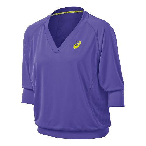 Womens ASICS 3/4 Tennis Top Long Sleeve No Zip Technical Tops - Voilet Purple L ...