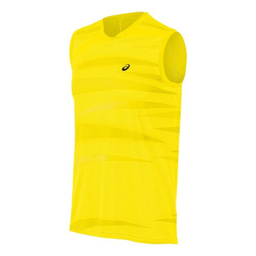 Mens ASICS Tennis Graphic Sleeveless Technical Tops - Blazing Yellow M