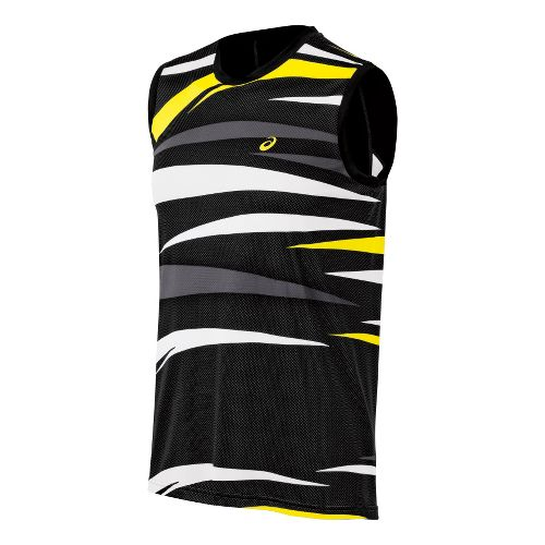 Mens ASICS Tennis Graphic Sleeveless Technical Tops - Performance Black XXL