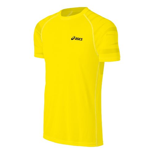 Mens ASICS Court Graphic Short Sleeve Technical Tops - Blazing Yellow S