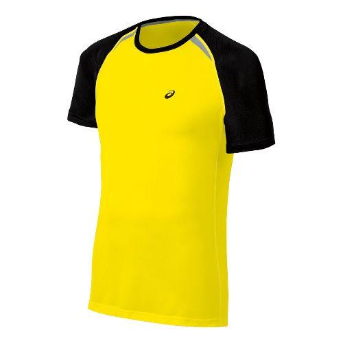 Mens ASICS Resolution Short Sleeve Technical Tops - Blazing Yellow M
