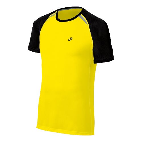 Mens ASICS Resolution Short Sleeve Technical Tops - Blazing Yellow S