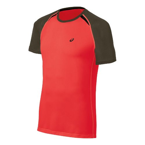 Mens ASICS Resolution Short Sleeve Technical Tops - Fiery Flame S