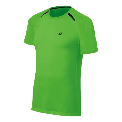 Mens ASICS Resolution Short Sleeve Technical Tops - Green Gecko S