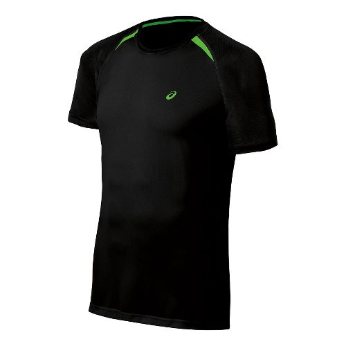 Mens ASICS Resolution Short Sleeve Technical Tops - Performance Black M