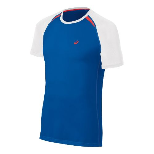 Mens ASICS Resolution Short Sleeve Technical Tops - Speed Blue L