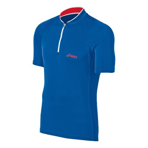Mens ASICS 1/2 Zip Polo Short Sleeve Technical Tops - Speed Blue XXL