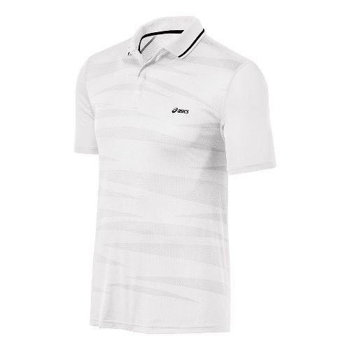 Mens ASICS Graphic Polo Short Sleeve Technical Tops - Real White M