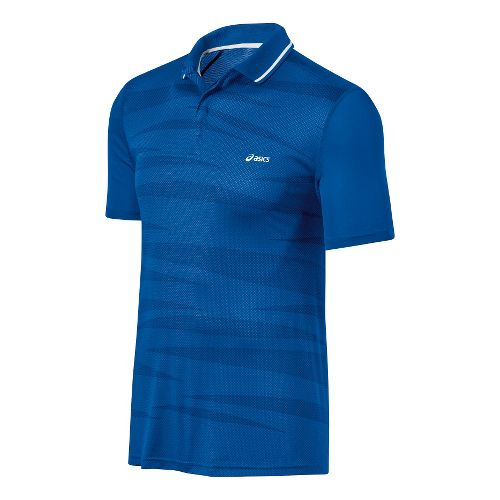 Mens ASICS Graphic Polo Short Sleeve Technical Tops - Speed Blue L