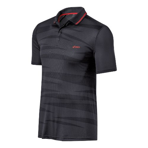 Mens ASICS Graphic Polo Short Sleeve Technical Tops - Stone L