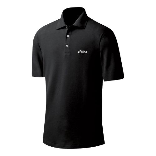 Mens ASICS Court Polo Short Sleeve Technical Tops - Performance Black XXL