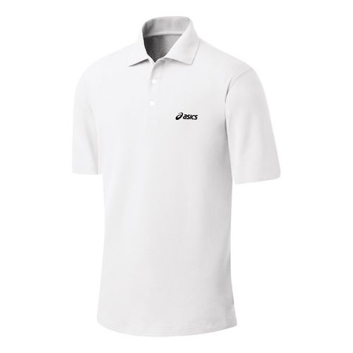 Mens ASICS Court Polo Short Sleeve Technical Tops - Real White XL