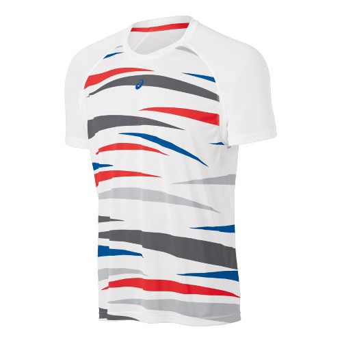 Mens ASICS Tennis Graphic Short Sleeve Technical Tops - Real White XL
