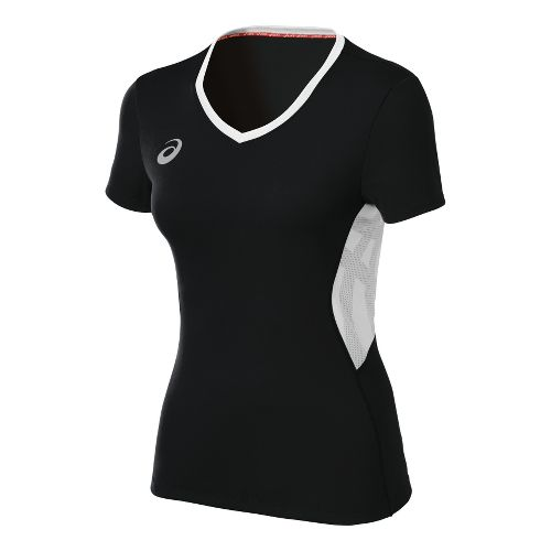 Womens ASICS Team Performance VB Short Sleeve Technical Tops - Black/White XXL