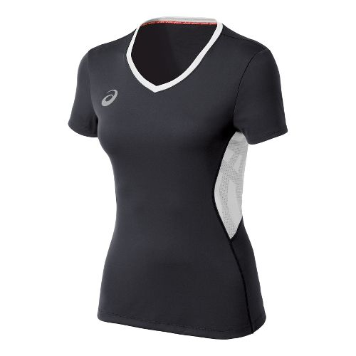 Womens ASICS Team Performance VB Short Sleeve Technical Tops - Steel Grey/White XL