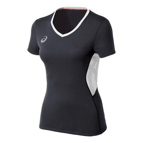 Womens ASICS Team Performance VB Short Sleeve Technical Tops - Steel Grey/White XL