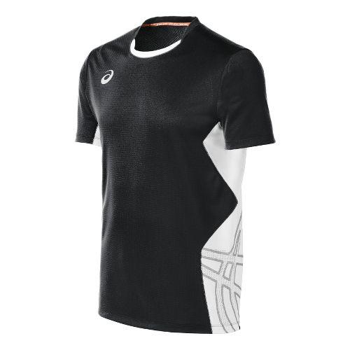 Mens ASICS Team Performance VB Short Sleeve Technical Tops - Black/White M