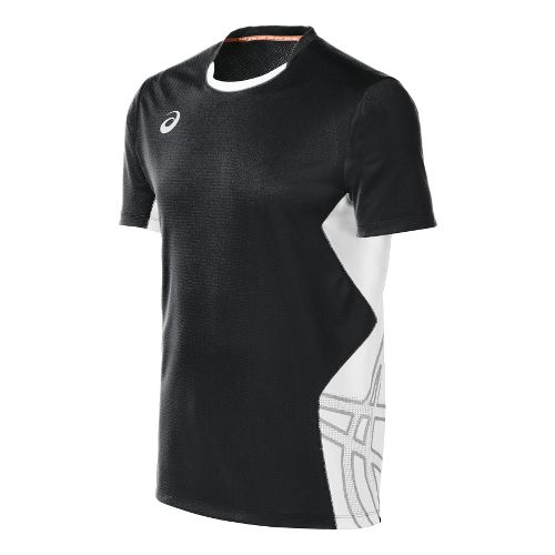 Mens ASICS Team Performance VB Short Sleeve Technical Tops - Black/White XL