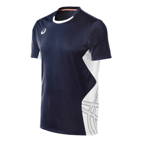 Mens ASICS Team Performance VB Short Sleeve Technical Tops - Navy/White XL