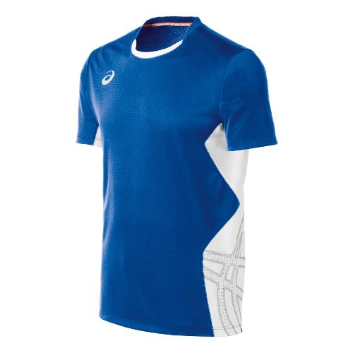 Mens ASICS Team Performance VB Short Sleeve Technical Tops - Royal/White M
